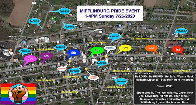 Mifflinburg Pride Event organizers' map.