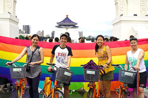 Asia Rainbow Ride cyclists.