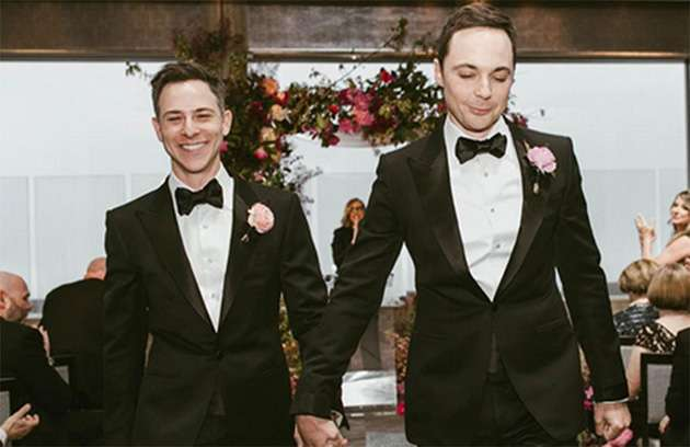Todd Spiewak and Jim Parsons on their wedding day.
