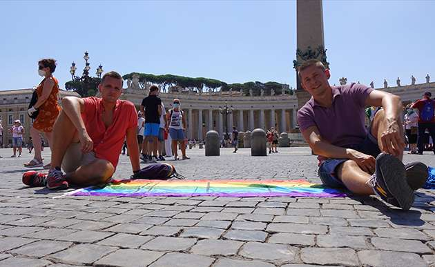 Jakub and Dawid Mycek-Kwiecinski in St Peter's Square.