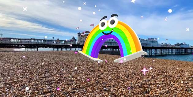 AR Digital Pride float Bow on Brighton's beach.
