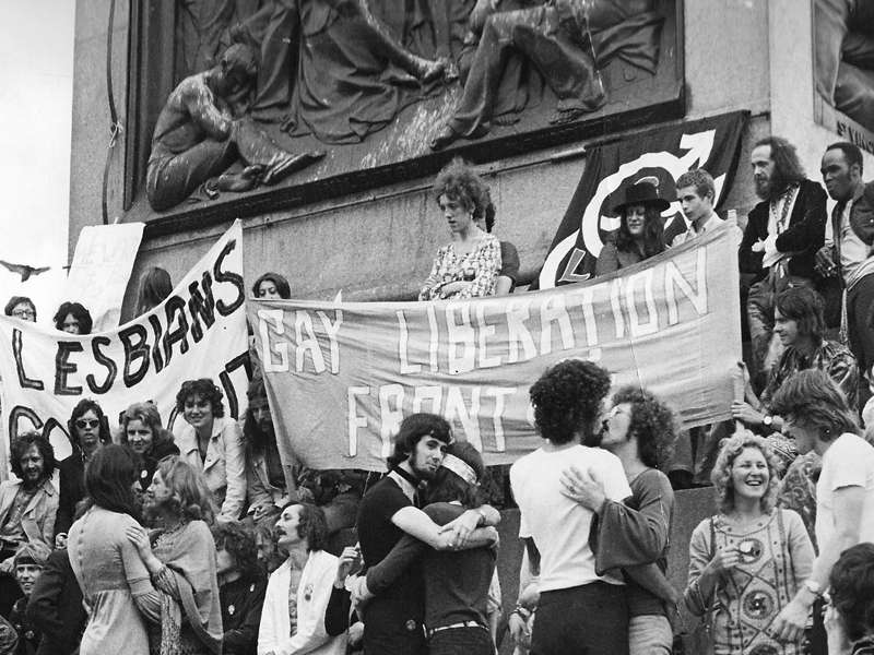 The Gay Liberation Front protesting in London's Trafalgar Square.